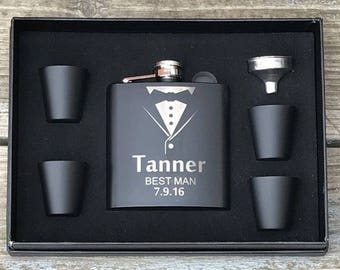 3 ea.Personalized Flask Gift Set Groomsman Best Man Engraved Wedding Engraved Black