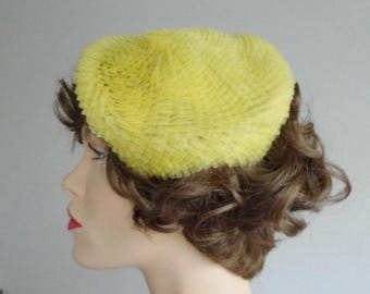 Yellow 50s Plastic Hat // One Size