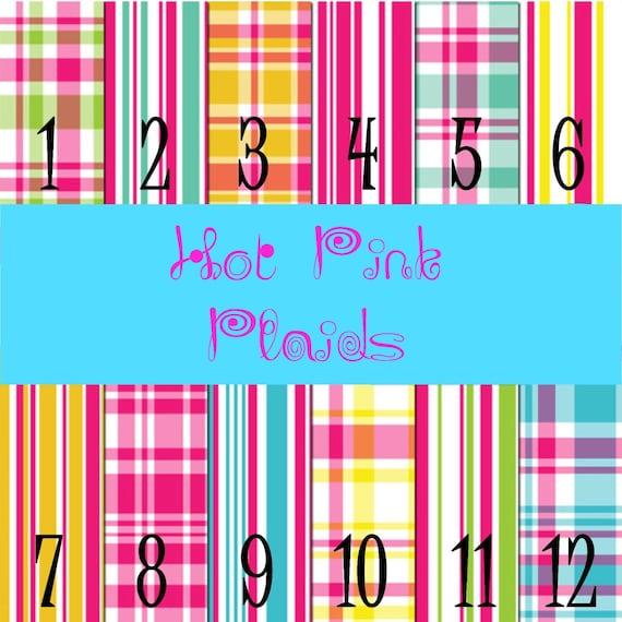 Hot Pink, Blue, Aqua, Yellow Plaid Adhesive Vinyl, HTV or Glitter HTV. Choice of 3 sizes. 6x6, 6x12 or 12x12. Girls or Boys