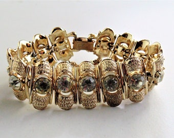 1945 Vintage Signed Coro Pegasus Gold Rhinestone Bracelet