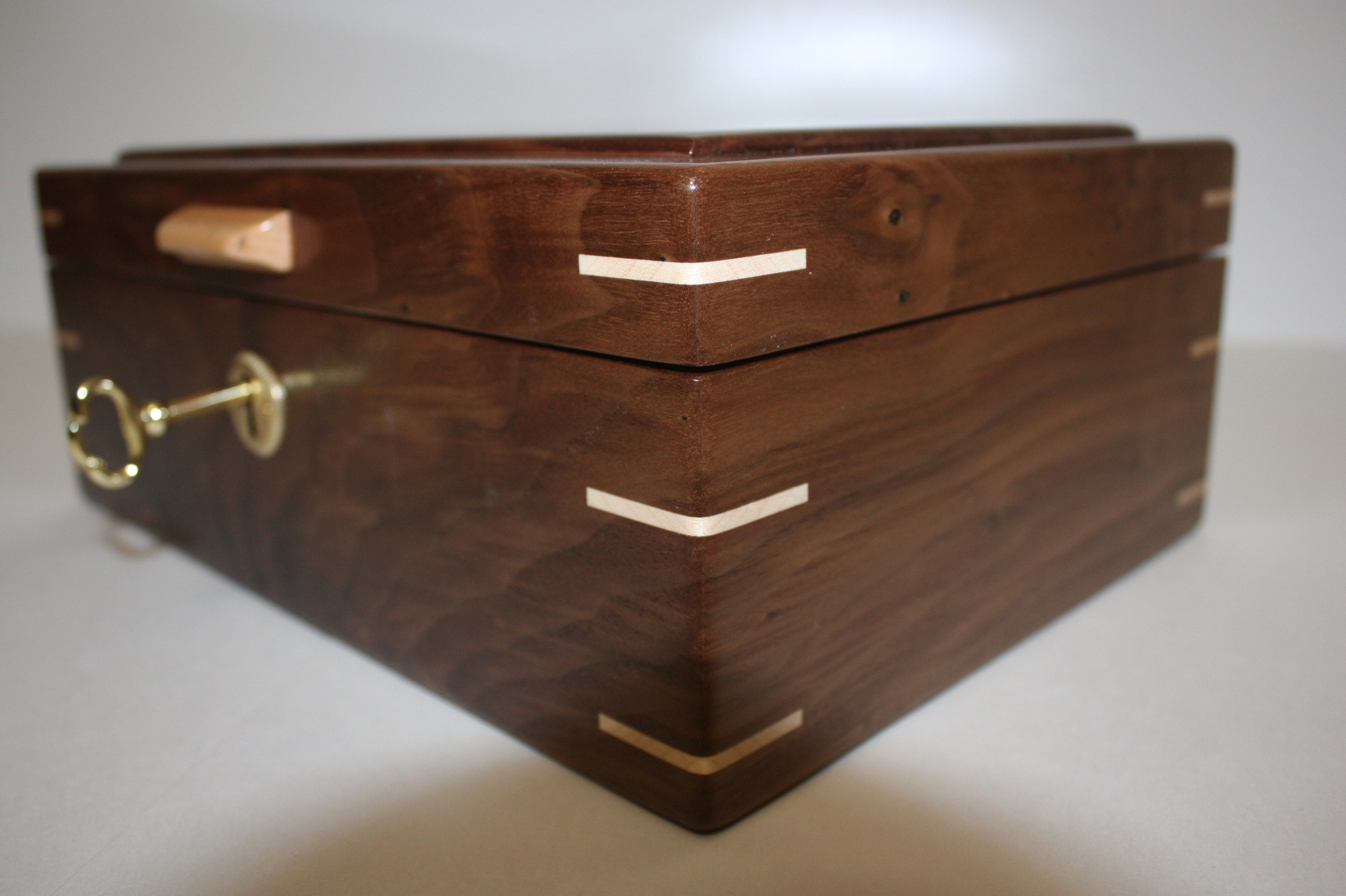 Handcrafted Locking Wood Box For Sale