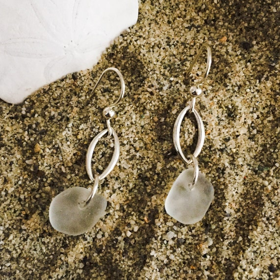 genuine santa cruz sea glass white earrings with sterling open oval and sterling ear wires