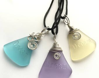 """Engraved """"DREAM"""" Inspiration Cultured Sea Glass Pendant / Lemon Yellow / Periwinkle / Aqua / Sterling Silver / Wire Wrapped / Gift Idea"""
