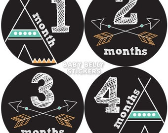 Tribal Arrows Baby Month Stickers, Monthly Baby Stickers, Monthly Milestone Stickers, Baby Monthly Stickers, Baby Belly Stickers