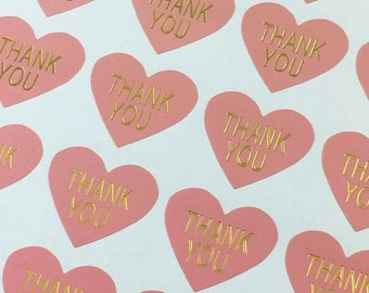 32 Heart Shaped Baby Pink and Gold 'Thank you' Stickers
