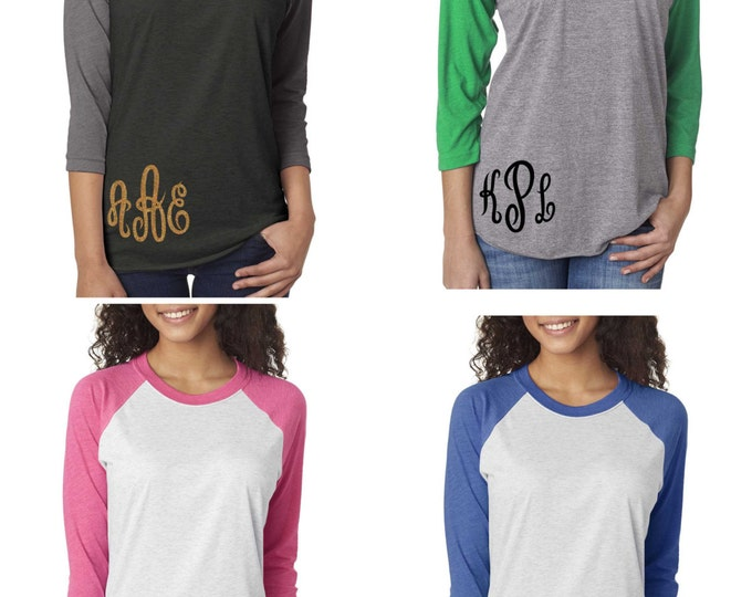 Set of 5 script monogram shirts . Monogram raglan shirts - baseball small monogram tee - monogrammed gifts - XXXL , XXL, XL, Large, Medium