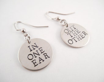 "In Out Earrings - ""In One Ear & Out The Other"" Metal Stamped Alkeme Circle Earrings"
