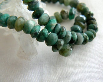 Emerald Shaded faceted rondelle beads. 4-5mm beads. Strand 4in. Semiprecious beads-Jewelry beads supply