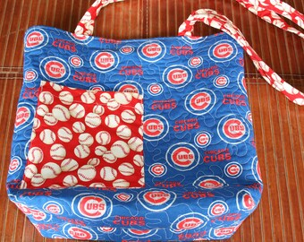 CUBS Baseball PURSE.  Free motion Quilted, Stippled stitching. One of a kind. Designed by Judy.