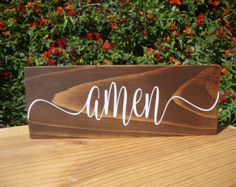 Amen Sign, Rustic Wood Sign, Inspirational Wood Sign, Wood Sign,  Farmhouse Decor, Rustic Home Decor
