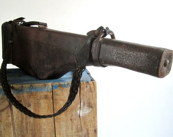Leather Gun Case, Antique Gun Case, Antique French Leather Case, Leg Of Mutton, Shotgun Travel Case, Hunting Gifts, Hunting Décor, Chasseur