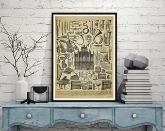 Vintage musical instrument Print, Old lithograph, antique print, Musician, Musical Instruments Poster, gift for the Musician *14*