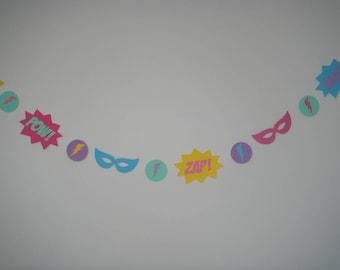 7ft die cut Super Hero birthday party banner garland superhero bam pow zap masks lightning comic speech bubble sound girl glam pink mint