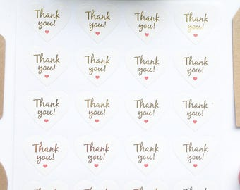40 Heart Shaped White and Gold 'Thank you' Stickers 3cm