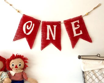 "Burlap ""ONE"" Year Old's Birthday Banner for boy or girl"