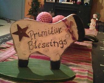 "primitive Handmade wooden sheep shelf sitter approximately 10"""