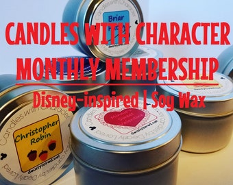 MONTHLY MEMBERSHIP - Candles with Character | Candle Club | Soy Wax Candles | Hand Poured | Disney Scented |  Gift | Travel Tin
