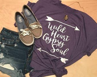 PREORDER SPECIAL Wild Heart Gypsy Soul Tank Racerback T Shirt - Ladies - Womens