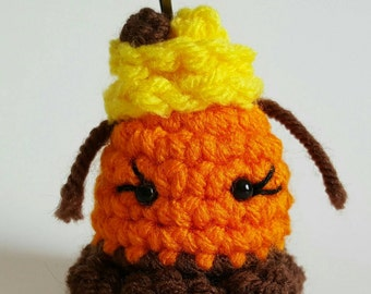 Little Reeses Pieces bug keychain/zipper pull charm/backpack charm/purse charm.