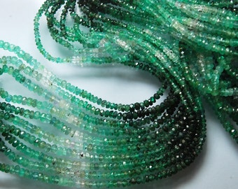14'' Strand, Super Wholesale Price, Natural Emerald Shaded Rondelles Size 4-3mm