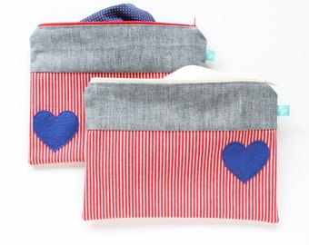 """Red Cosmetic Case // Heart Cosmetic Case // Red Stripes Chambray Zip Pouch // 9""""x7"""" Large Zip Bag"""