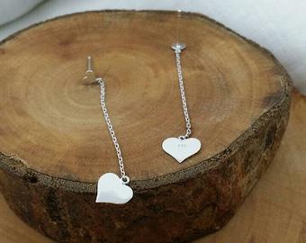 SILVER  Heart Drop Earrings, Chain-Heart , Dangling Earrings , Stud and Chain