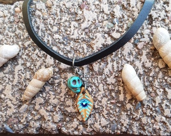 Turquoise Skull and Feather Choker