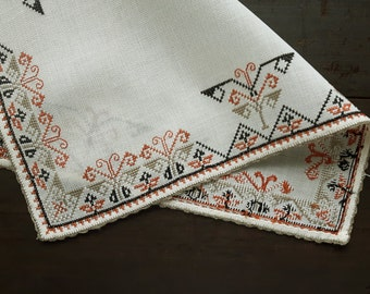 Vintage cross stitch embroidered doily