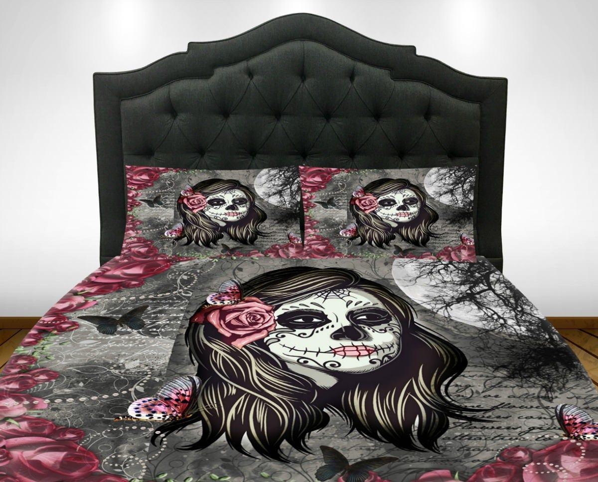 Sugar Skull Comforter Set Duvet Cover La Rosa Skull