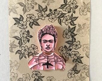 Frida rubber stamp, Frida with hummingbird, thorn necklace, Hand Carved Stamp, Frida Kahlo Fan Gift