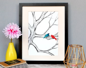 Bird illustration | Instant download | DIY Print | Home Decor | Personal Use Only