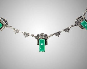 antique sterling Art Deco marcasite & chrysoprase necklace