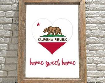 California Wall Art, Printable Wall Art, Wall Decor, Wall Hanging, Home Sweet Home Sign, California Map, California Flag, California Decor