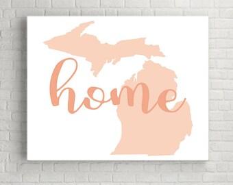 Michigan Wall Art, Printable Wall Art, Michigan Wall Decor, Printable Art, Digital Download, Instant Download Print, Michigan Map Sign