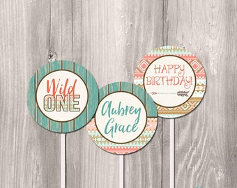 wild one printable cupcake toppers, printable cupcake toppers, tribal cupcake toppers, first birthday cupcake toppers, DIY cupcake toppers