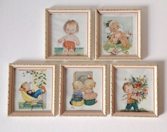 Vintage Mabel Lucie Attwell prints, set of five small 1950s or 1960s framed art prints