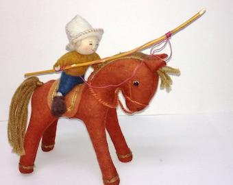 Kyrgyz Horseback Doll with Pole