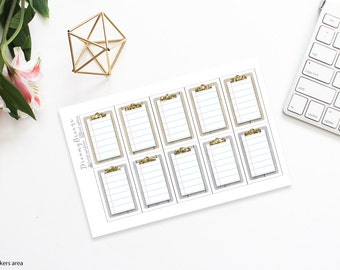 Tan & Gray Wood with Gold | Clipboard boxes | Printable Planner Stickers | Happy Planner