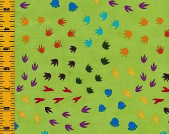Fabric By The Yard, Dinosaur Train 1 2 3 for VIP Exclusive| Cotton Quilting Fabric | Green Dinosaur Tracks | 1649 - 45512 - H