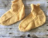 HANDMADE 7-7.5 sz Bed Booties - Soft - Mustard Yellow - 100% Alpaca Wool -  Women's