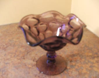 Vintage 1960s Fenton Purple Glass Ruffled Thumbprint Pedestal Candy Dish / Compote