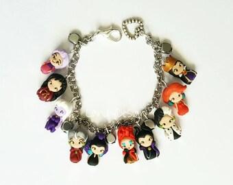 Villain bracelet inspired , clay charm , Maleficent,Ursula, Evil Queen ,Mother Gothel,Madam mim,Queen of Heart,Cruella De Vil,Lady Tremaine