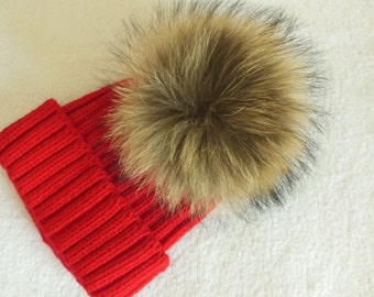 13cm Natural Real Raccoon Fur Pom Pom Knit Hat Pompoms Removable