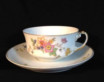 H & C Heinrich Co, Selb Bavaria Tea Cup and Saucer in Manchester Pattern, Delicate Flowers, Leaves and Vines, Pretty as Springtime.
