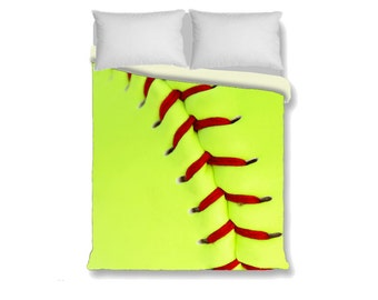 Softball Duvet Cover-Yellow/Green/Red Duvet Cover-Athletic Bedroom Decor-Girls Bedding-Twin/Full/Queen/King Duvet Cover-Sports Bedroom Decor