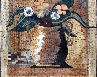 Illustrative Daisies Mosaic Pot