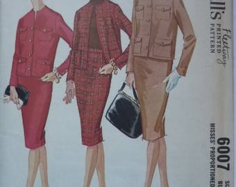 Vintage Sewing Pattern. McCalls 6007. 1961 Jacket and Skirt. FF unused