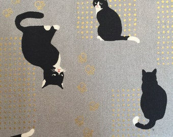 Cat Fabric by Quilt Gate on Gray
