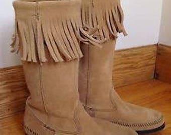 Minnetonka  vintage beige suede with fringe boots size 8