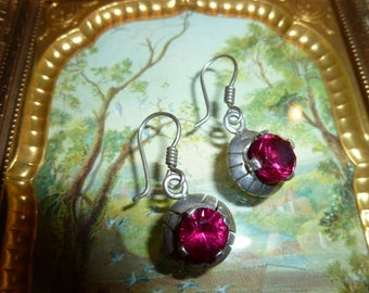 Mexican Silver Earrings With Pretty Cranberry Red Colored Glass Stone